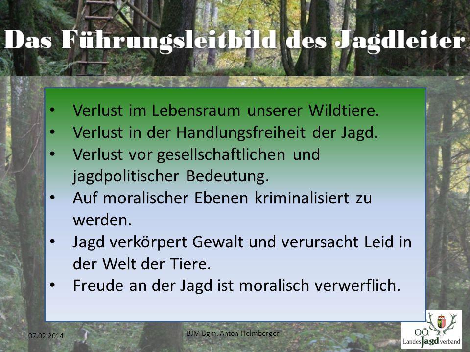 BJM Bgm. Anton Helmberger 25 07.02.2014 Verlust im Lebensraum unserer Wildtiere. Verlust in der Handlungsfreiheit der Jagd. Verlust vor gesellschaftli
