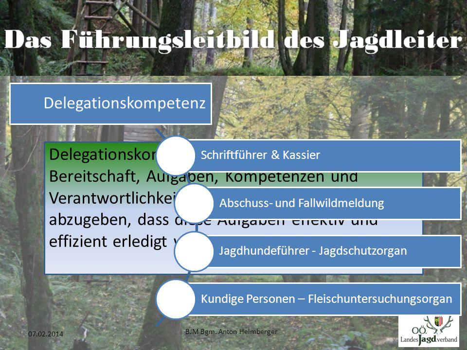 BJM Bgm. Anton Helmberger 28 07.02.2014 Delegationskompetenz Delegationskompetenz ist die Fähigkeit und Bereitschaft, Aufgaben, Kompetenzen und Verant