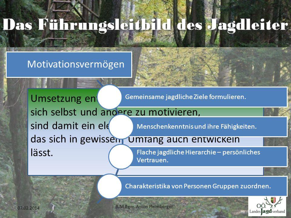 BJM Bgm. Anton Helmberger 34 07.02.2014 Umsetzung entspringt Motivation. Die Fähigkeit, sich selbst und andere zu motivieren, sind damit ein elementar