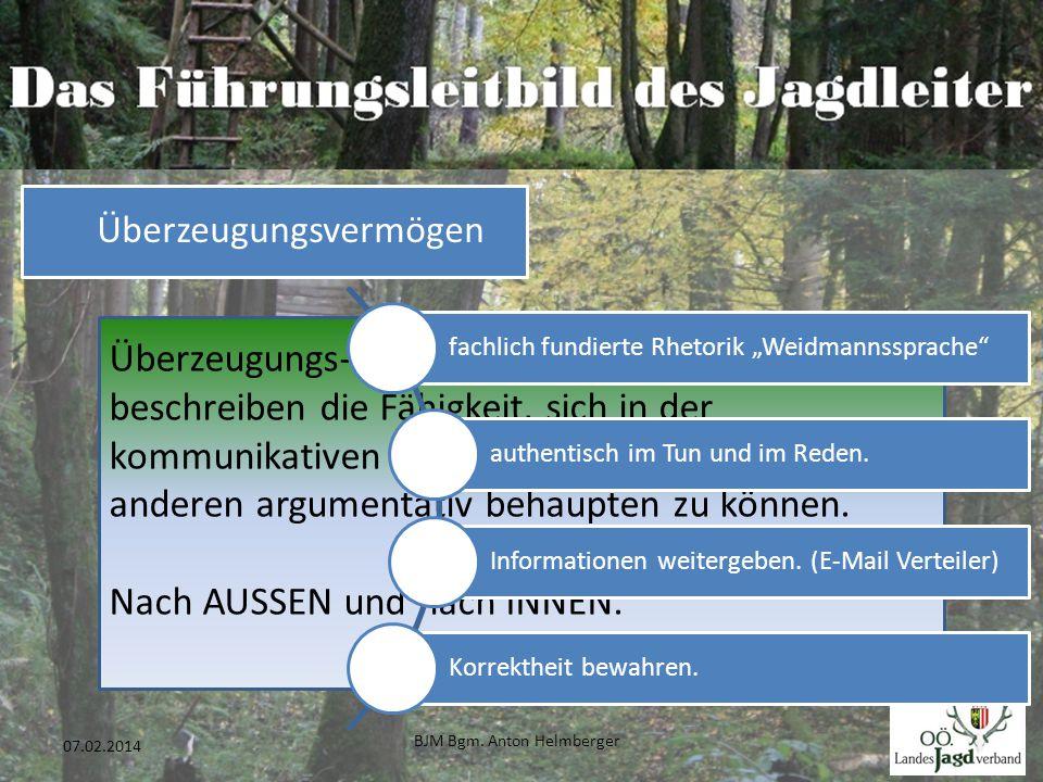BJM Bgm. Anton Helmberger 36 07.02.2014 Überzeugungs- und Durchsetzungsvermögen beschreiben die Fähigkeit, sich in der kommunikativen Auseinandersetzu