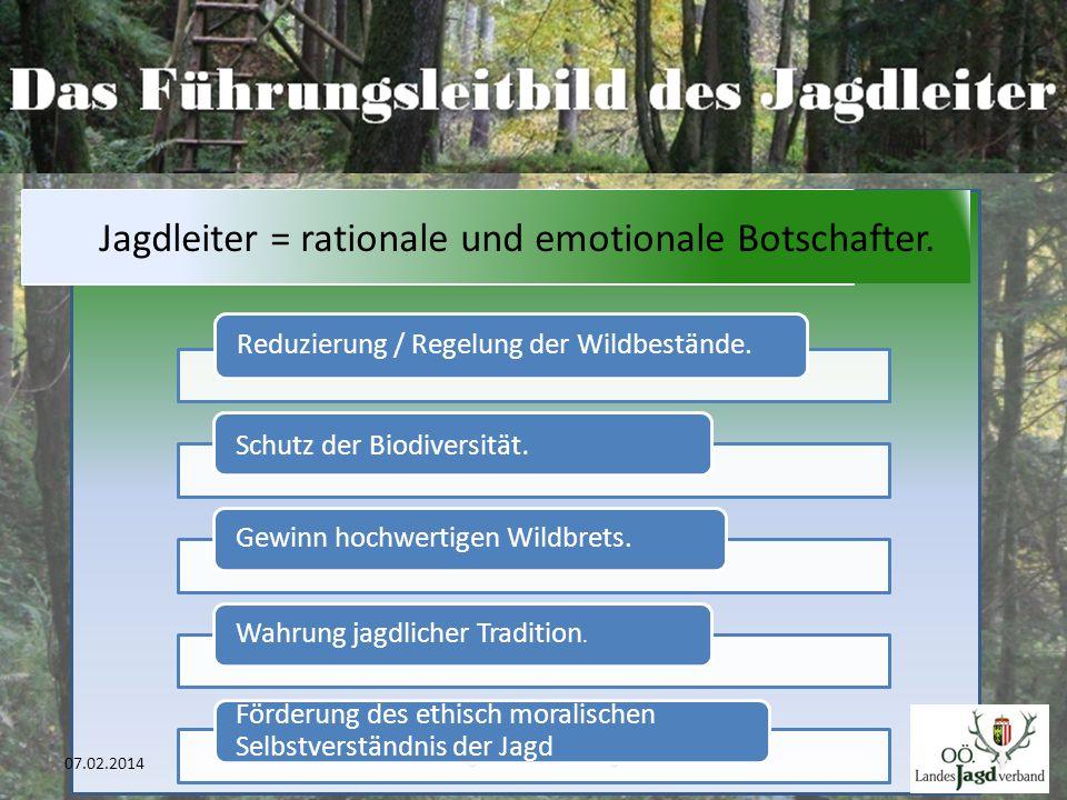 BJM Bgm. Anton Helmberger 39 07.02.2014 Reduzierung / Regelung der Wildbestände. Schutz der Biodiversität. Gewinn hochwertigen Wildbrets.Wahrung jagdl