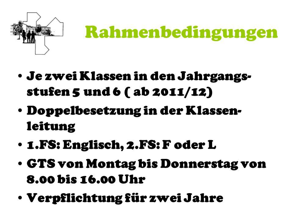 Rahmenbedingungen Je zwei Klassen in den Jahrgangs- stufen 5 und 6 ( ab 2011/12) Doppelbesetzung in der Klassen- leitung 1.FS: Englisch, 2.FS: F oder