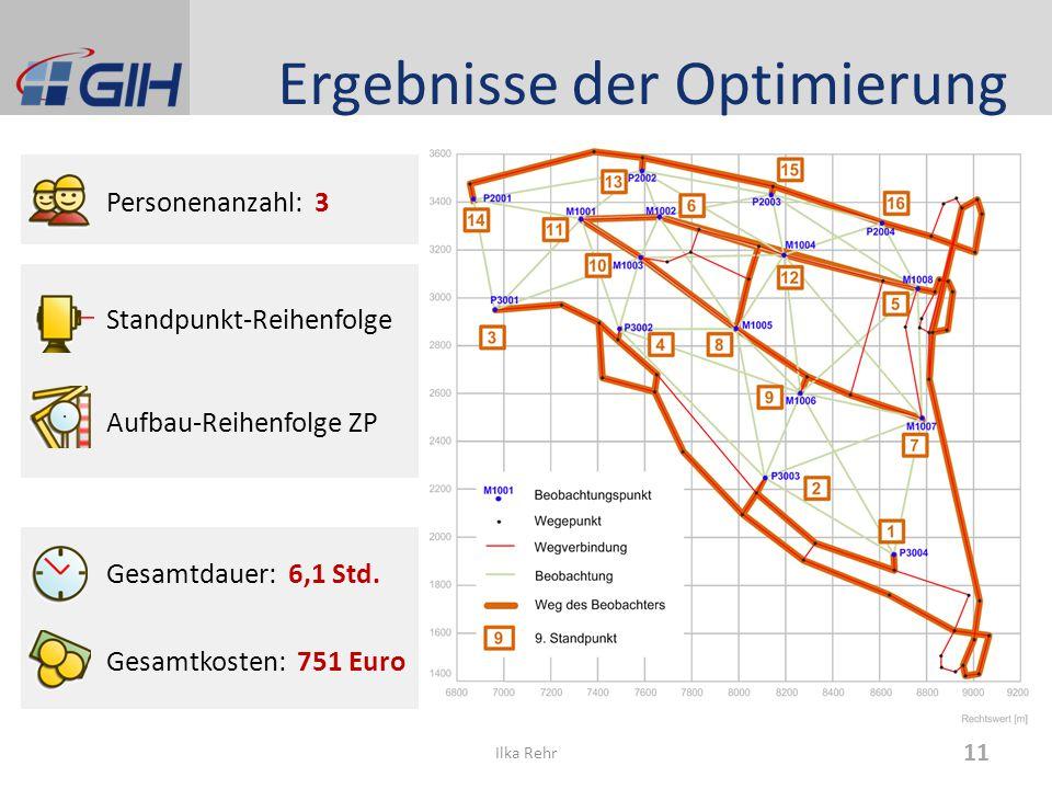 Ergebnisse der Optimierung Personenanzahl: 3 Standpunkt-Reihenfolge Aufbau-Reihenfolge ZP Gesamtdauer: 6,1 Std. Gesamtkosten: 751 Euro 11 Ilka Rehr