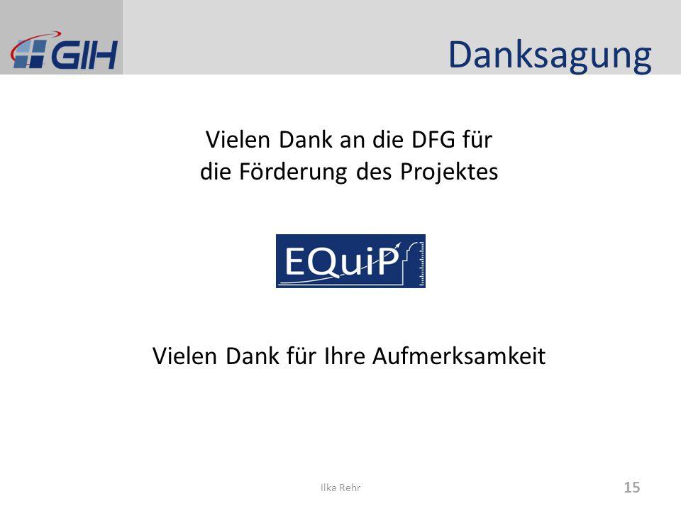 Danksagung Vielen Dank an die DFG für die Förderung des Projektes Vielen Dank für Ihre Aufmerksamkeit Ilka Rehr 15