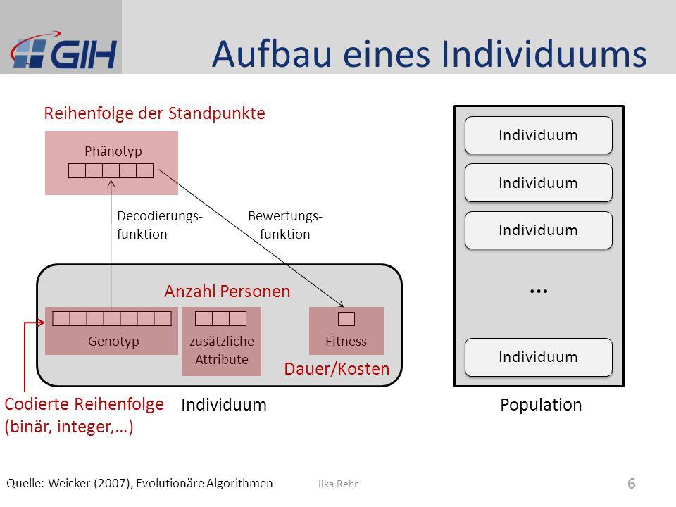Aufbau eines Individuums Ilka Rehr 6 Individuum Genotyp zusätzliche Attribute Fitness Phänotyp Decodierungs- funktion Population Individuum … Bewertun