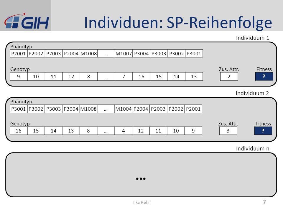 Individuen: SP-Reihenfolge Ilka Rehr 7 Phänotyp P2001P2002P2003P2004M1008…M1007P3004P3003P3002P3001 GenotypZus. Attr.Fitness 91011128…7161514132? Phän