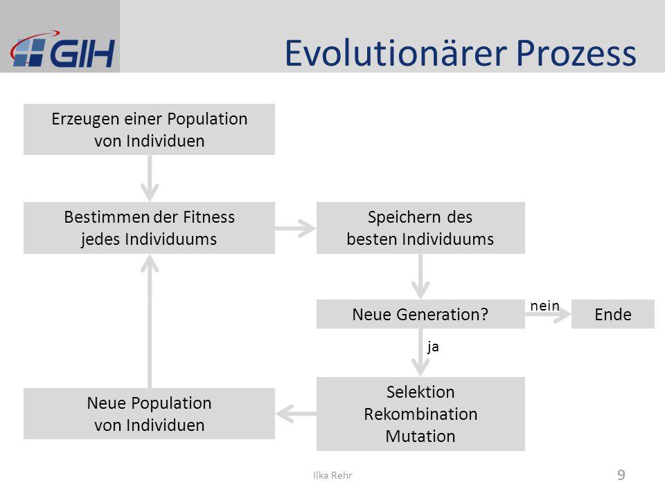Evolutionärer Prozess Erzeugen einer Population von Individuen Bestimmen der Fitness jedes Individuums Selektion Rekombination Mutation Neue Generation.