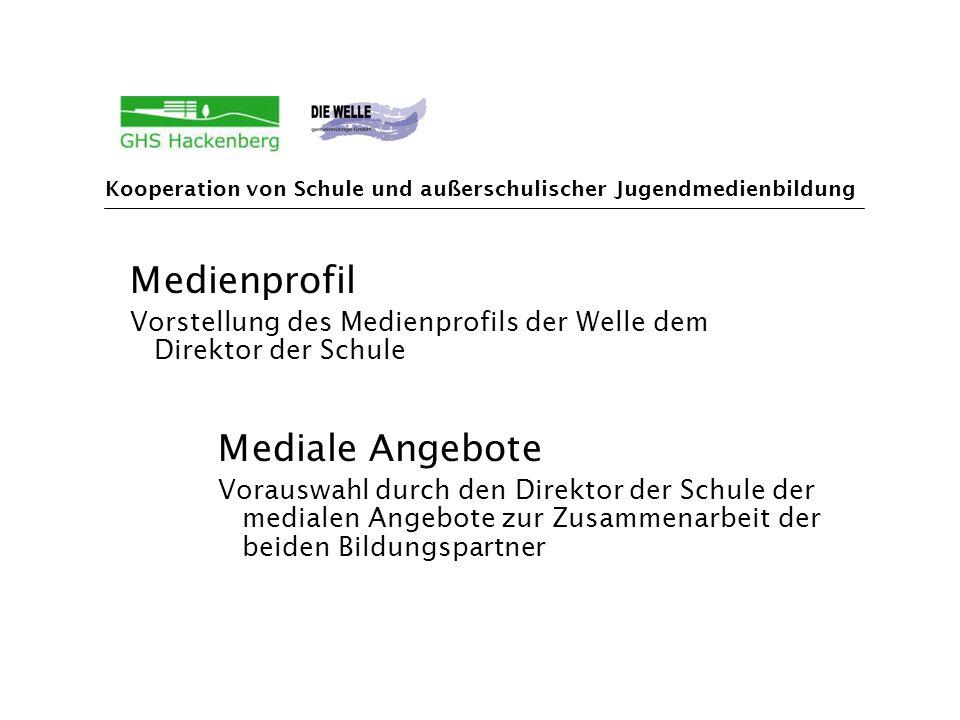 Medienprofil Vorstellung des Medienprofils der Welle dem Direktor der Schule Mediale Angebote Vorauswahl durch den Direktor der Schule der medialen Angebote zur Zusammenarbeit der beiden Bildungspartner