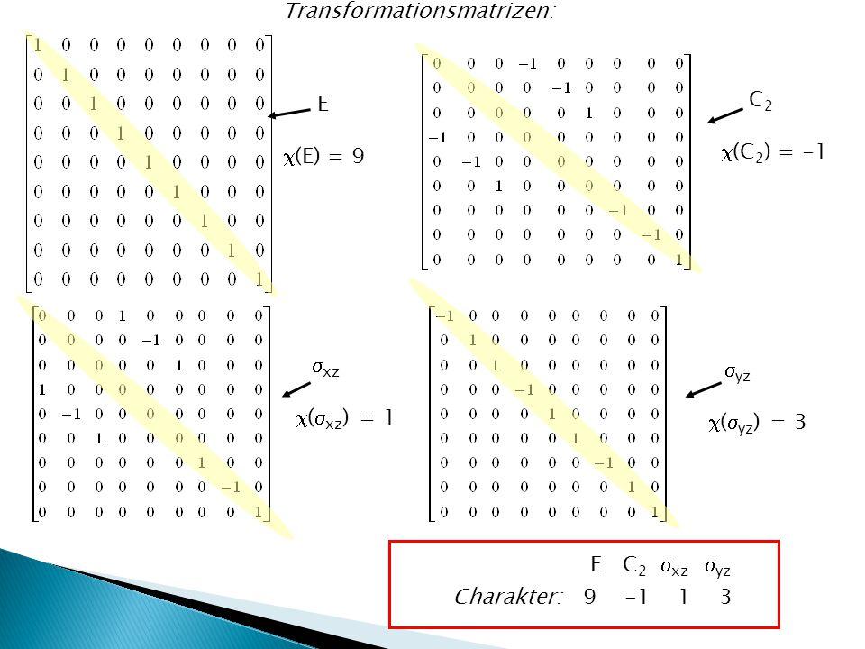 Transformationsmatrizen: E  (E) = 9 C 2  (C 2 ) = -1  xz  (  xz ) = 1  yz  (  yz ) = 3 Charakter: 9 -1 1 3 E C 2  xz  yz