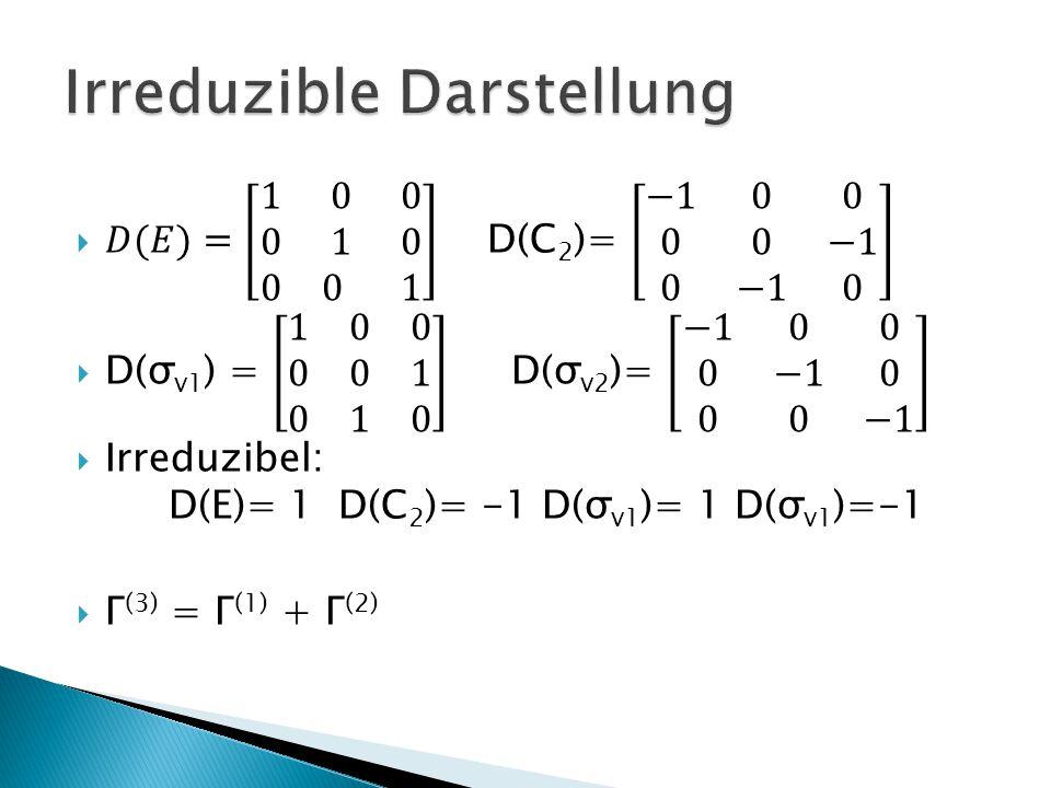 C 2v EC2C2 σ v1 σ v2 h=4 A1A1 1111z A2A2 11 B1B1 1 1 x B2B2 1 1y Zahl der Symmetrietypen = Zahl der Klassen