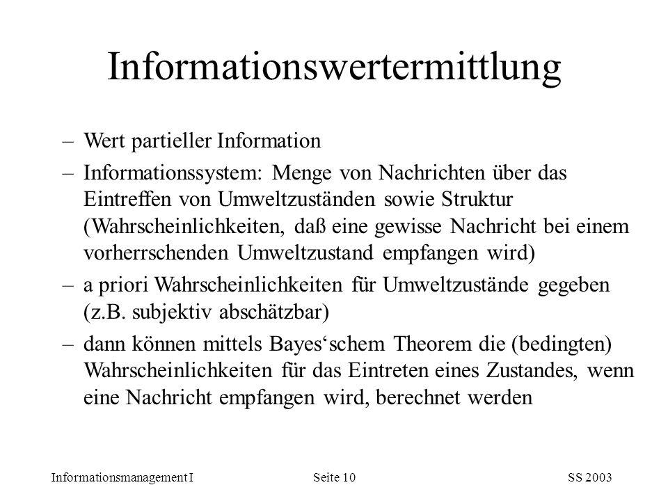 Informationsmanagement ISS 2003Seite 10 –Wert partieller Information –Informationssystem: Menge von Nachrichten über das Eintreffen von Umweltzustände