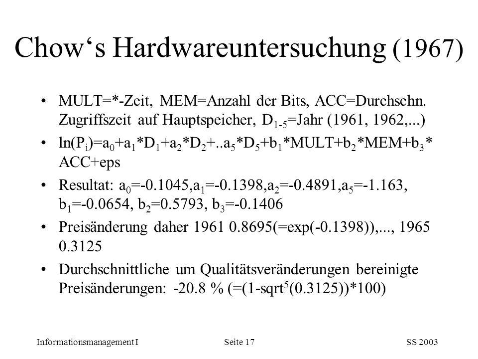 Informationsmanagement ISS 2003Seite 17 Chow's Hardwareuntersuchung (1967) MULT=*-Zeit, MEM=Anzahl der Bits, ACC=Durchschn. Zugriffszeit auf Hauptspei