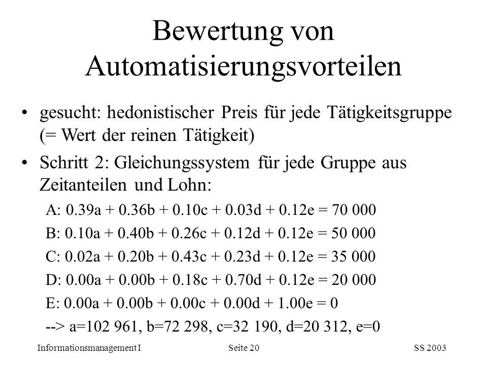 Informationsmanagement ISS 2003Seite 20 gesucht: hedonistischer Preis für jede Tätigkeitsgruppe (= Wert der reinen Tätigkeit) Schritt 2: Gleichungssys