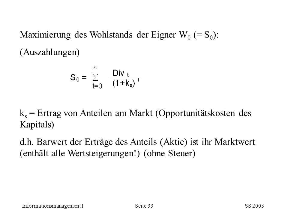 Informationsmanagement ISS 2003Seite 33 Maximierung des Wohlstands der Eigner W 0 (= S 0 ): (Auszahlungen) k s = Ertrag von Anteilen am Markt (Opportu