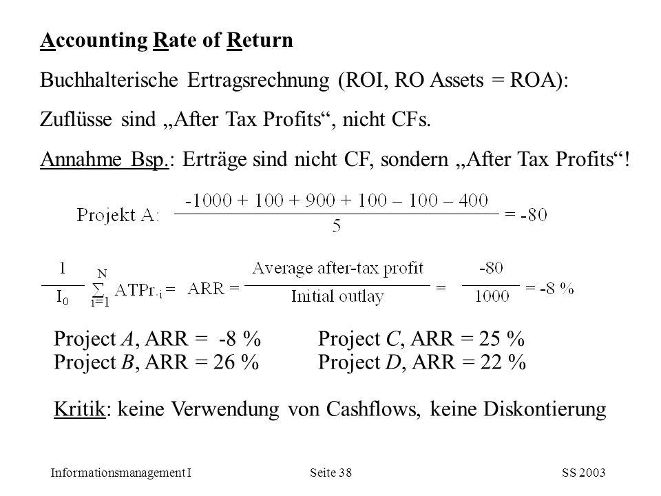 "Informationsmanagement ISS 2003Seite 38 Accounting Rate of Return Buchhalterische Ertragsrechnung (ROI, RO Assets = ROA): Zuflüsse sind ""After Tax Pro"