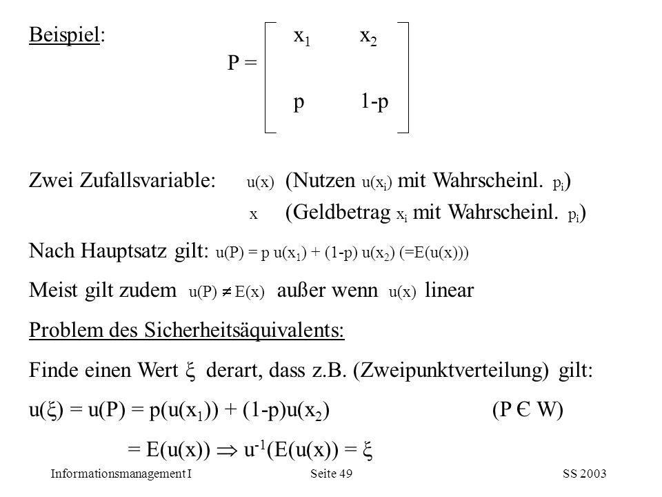 Informationsmanagement ISS 2003Seite 49 Beispiel: x 1 x 2 P = p1-p Zwei Zufallsvariable: u(x) (Nutzen u(x i ) mit Wahrscheinl. p i ) x (Geldbetrag x i