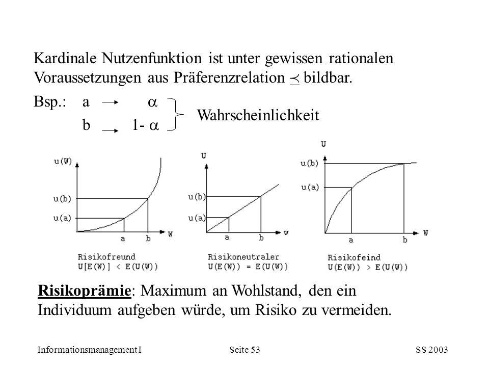 Informationsmanagement ISS 2003Seite 53 Kardinale Nutzenfunktion ist unter gewissen rationalen Voraussetzungen aus Präferenzrelation  bildbar. Bsp.: