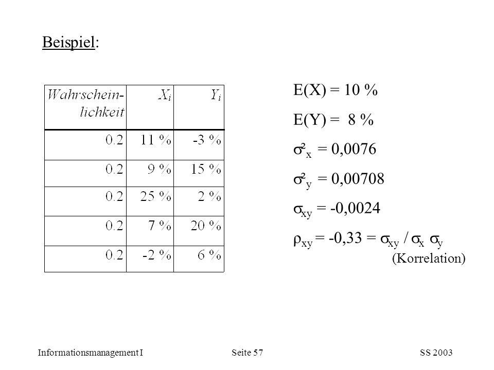 Informationsmanagement ISS 2003Seite 57 E(X) = 10 % E(Y) = 8 %  ² x = 0,0076  ² y = 0,00708  xy = -0,0024 ρ xy = -0,33 =  xy /  x  y (Korrelatio