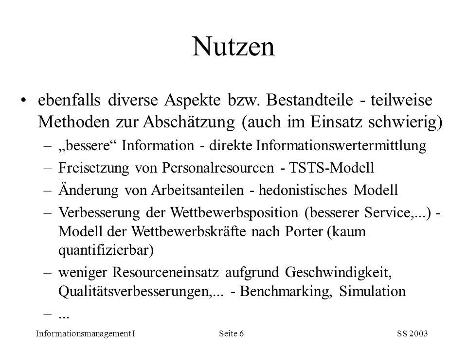 """Informationsmanagement ISS 2003Seite 6 ebenfalls diverse Aspekte bzw. Bestandteile - teilweise Methoden zur Abschätzung (auch im Einsatz schwierig) –"""""""