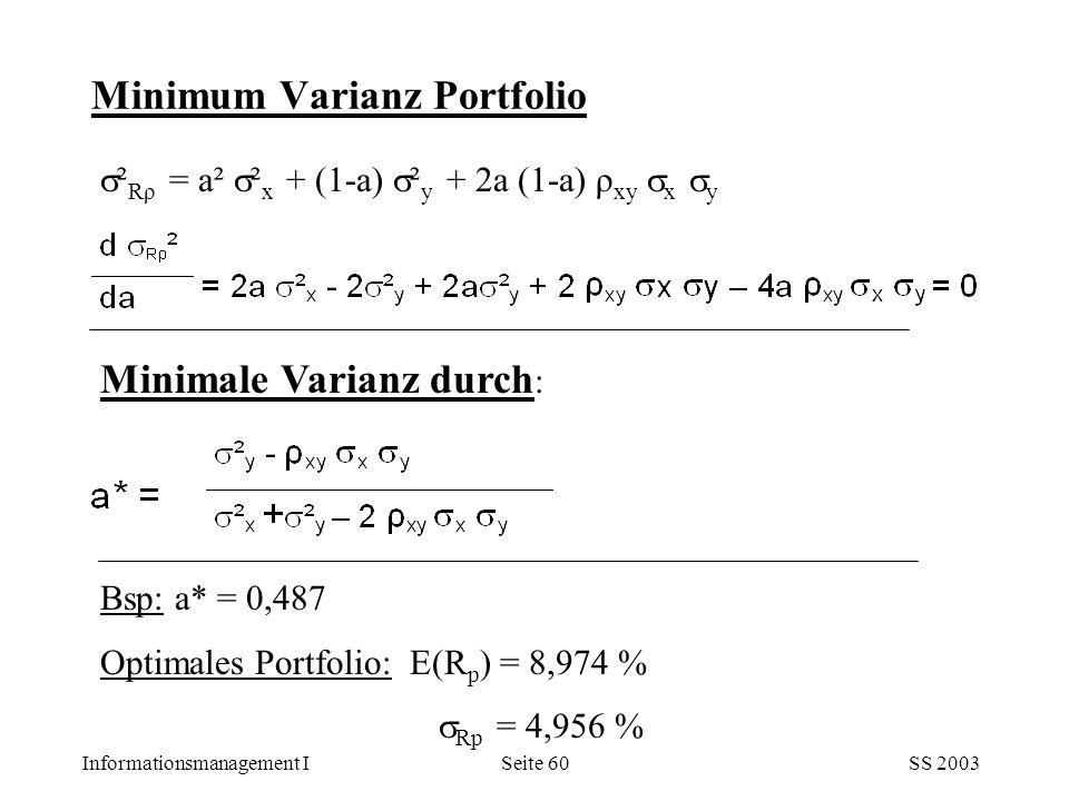Informationsmanagement ISS 2003Seite 60 Minimum Varianz Portfolio  ² Rρ = a²  ² x + (1-a)  ² y + 2a (1-a) ρ xy  x  y Minimale Varianz durch : Bsp