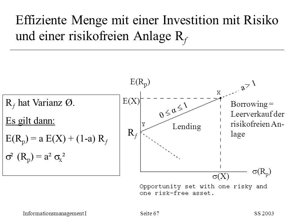 Informationsmanagement ISS 2003Seite 67 Effiziente Menge mit einer Investition mit Risiko und einer risikofreien Anlage R f R ƒ hat Varianz Ø. Es gilt