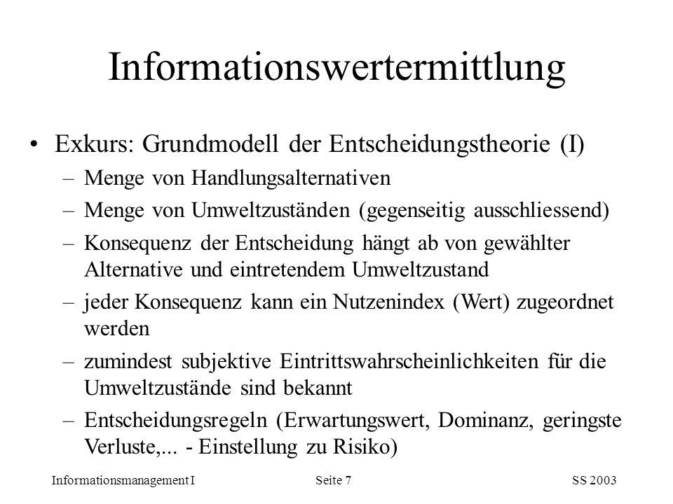 Informationsmanagement ISS 2003Seite 7 Exkurs: Grundmodell der Entscheidungstheorie (I) –Menge von Handlungsalternativen –Menge von Umweltzuständen (g