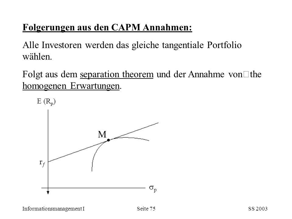 Informationsmanagement ISS 2003Seite 75 Folgerungen aus den CAPM Annahmen: Alle Investoren werden das gleiche tangentiale Portfolio wählen. Folgt aus