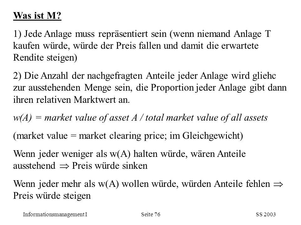 Informationsmanagement ISS 2003Seite 76 Was ist M? 1) Jede Anlage muss repräsentiert sein (wenn niemand Anlage T kaufen würde, würde der Preis fallen