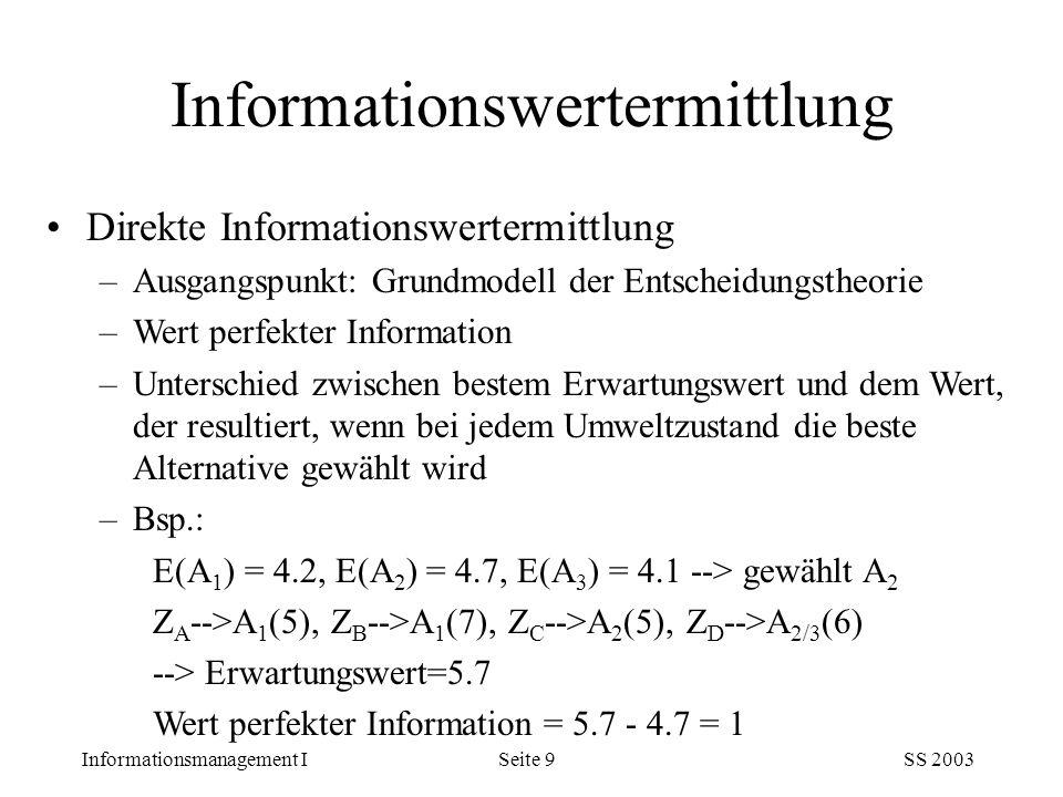 Informationsmanagement ISS 2003Seite 9 Direkte Informationswertermittlung –Ausgangspunkt: Grundmodell der Entscheidungstheorie –Wert perfekter Informa