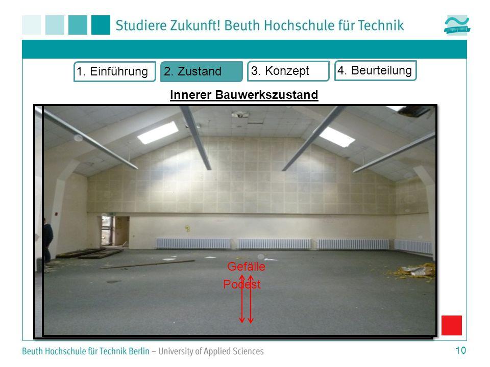  Gründungsbereich/ Boden  Unterschiedliche Bodenbeläge  Bodengefälle  Podest  Augenscheinlich ohne Beschädigung 10 Innerer Bauwerkszustand 1.