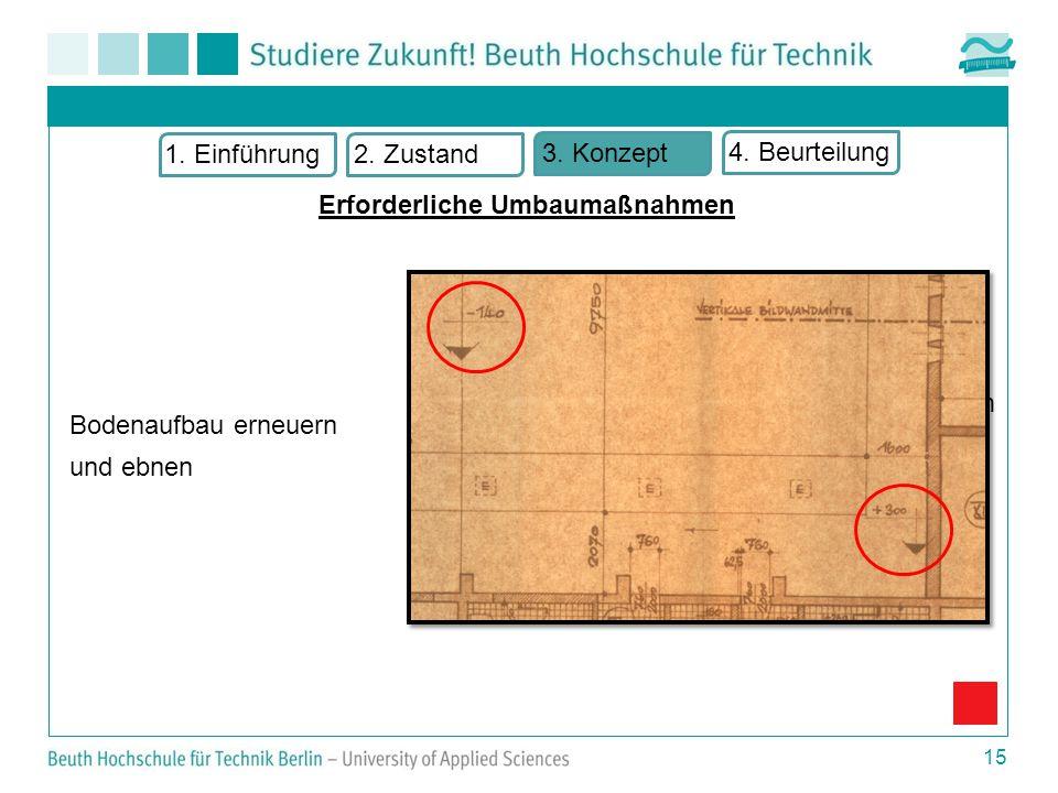 15 Bodenaufbau erneuern und ebnen m = 4,4 cm/m bzw.