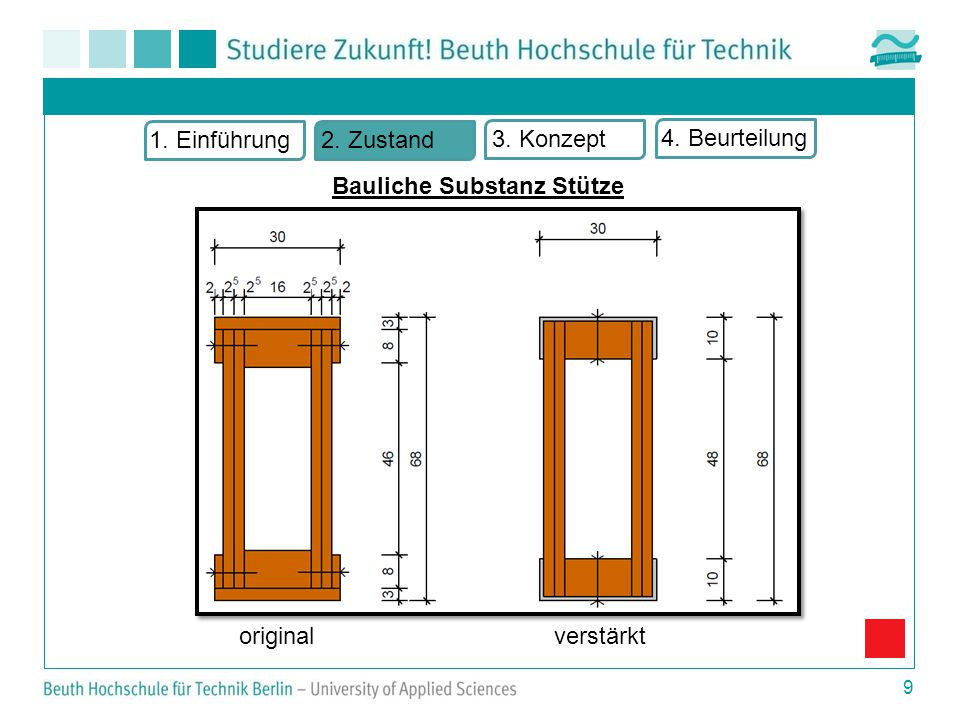 9 Bauliche Substanz Stütze 1. Einführung2. Zustand 3. Konzept 4. Beurteilung originalverstärkt