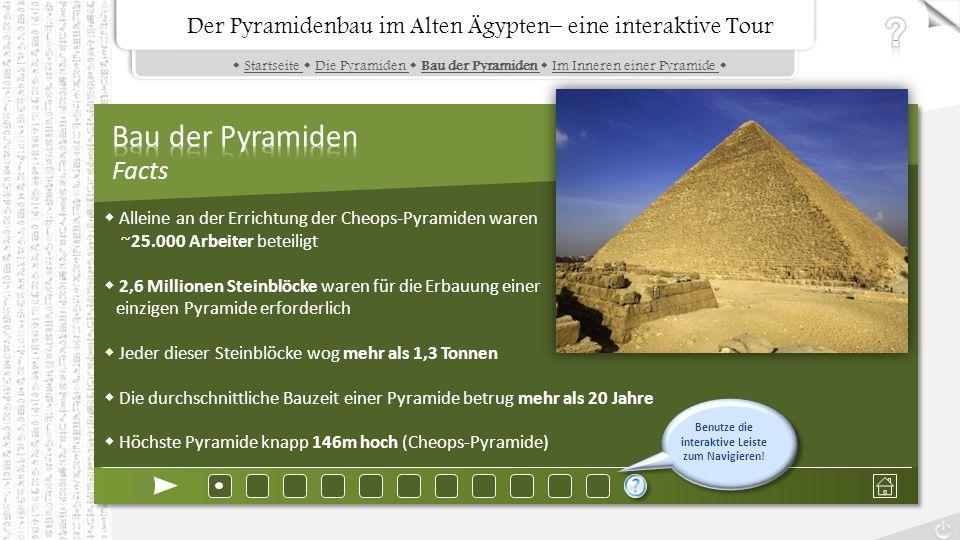 Der Pyramidenbau im Alten Ägypten– eine interaktive Tour  Startseite  Die Pyramiden  Bau der Pyramiden  Im Inneren einer Pyramide Startseite Die Pyramiden Bau der Pyramiden Im Inneren einer Pyramide Der Pyramidenbau im Alten Ägypten– eine interaktive Tour  Alleine an der Errichtung der Cheops-Pyramiden waren ~25.000 Arbeiter beteiligt  2,6 Millionen Steinblöcke waren für die Erbauung einer einzigen Pyramide erforderlich  Jeder dieser Steinblöcke wog mehr als 1,3 Tonnen  Die durchschnittliche Bauzeit einer Pyramide betrug mehr als 20 Jahre  Höchste Pyramide knapp 146m hoch (Cheops-Pyramide) Benutze die interaktive Leiste zum Navigieren!
