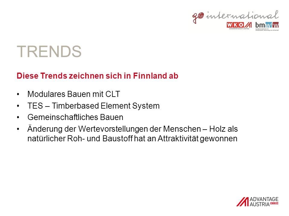 TRENDS Diese Trends zeichnen sich in Finnland ab Modulares Bauen mit CLT TES – Timberbased Element System Gemeinschaftliches Bauen Änderung der Wertev