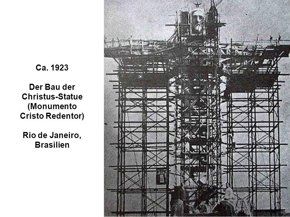Ca. 1923 Der Bau der Christus-Statue (Monumento Cristo Redentor) Rio de Janeiro, Brasilien