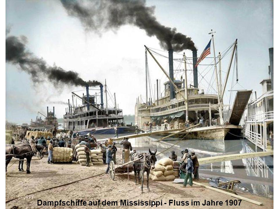 Dampfschiffe auf dem Mississippi - Fluss im Jahre 1907