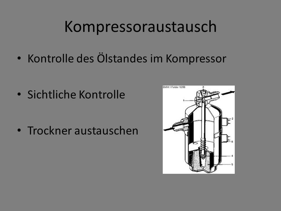 Kompressoraustausch Kontrolle des Ölstandes im Kompressor Sichtliche Kontrolle Trockner austauschen