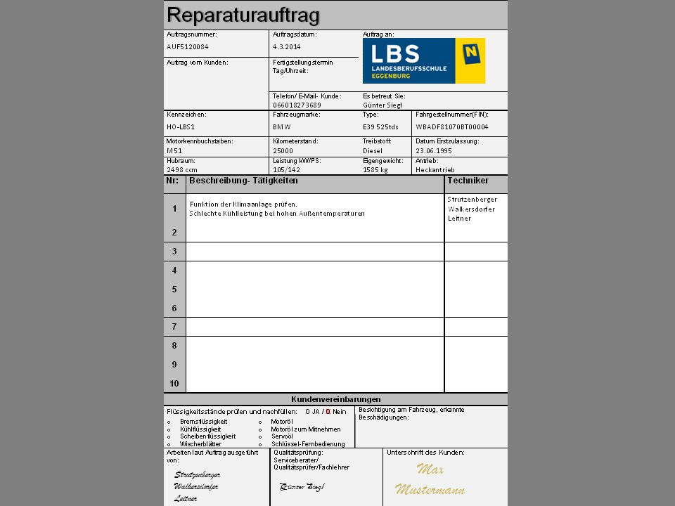Max Mustermann x Strutzenberger Walkersdorfer Leitner Günter Siegl