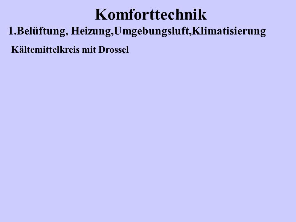 Komforttechnik 1.Belüftung, Heizung,Umgebungsluft,Klimatisierung Kältemittelkreis mit Drossel