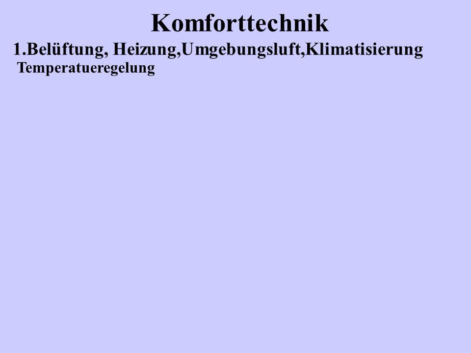 Komforttechnik 1.Belüftung, Heizung,Umgebungsluft,Klimatisierung Temperatueregelung