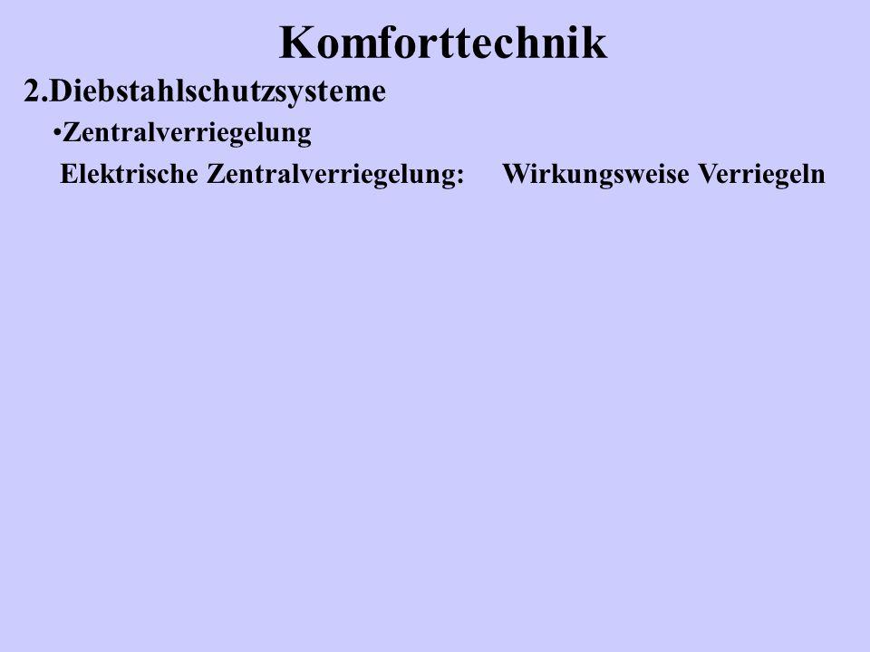 Komforttechnik 2.Diebstahlschutzsysteme Zentralverriegelung Elektrische Zentralverriegelung: Wirkungsweise Verriegeln