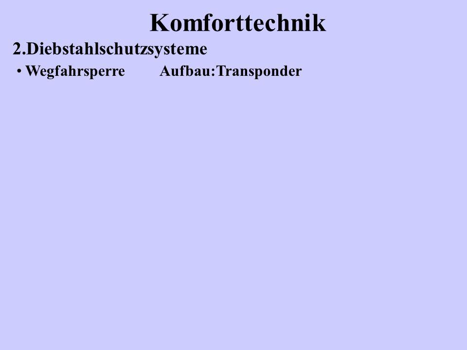 Komforttechnik 2.Diebstahlschutzsysteme Wegfahrsperre Aufbau:Transponder