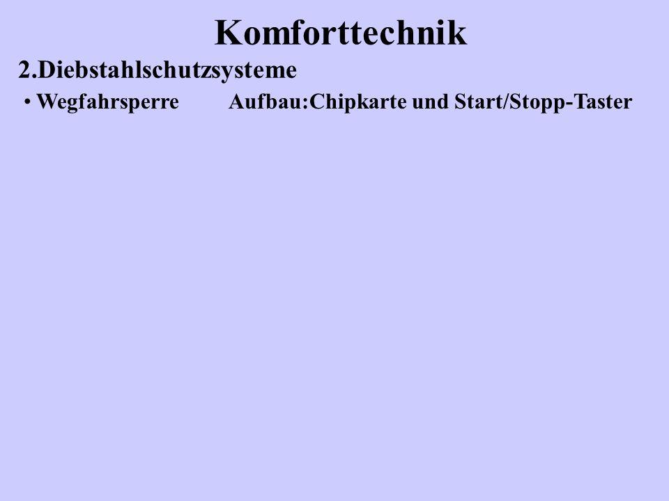 Komforttechnik 2.Diebstahlschutzsysteme Wegfahrsperre Aufbau:Chipkarte und Start/Stopp-Taster