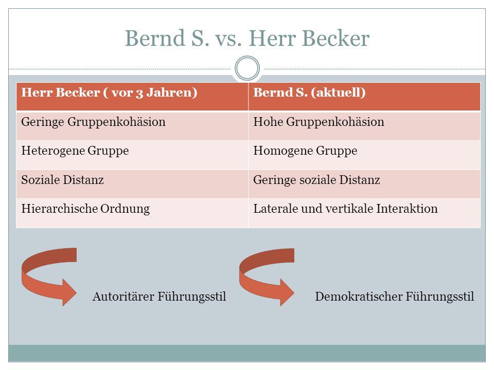 Bernd S. vs. Herr Becker Herr Becker ( vor 3 Jahren)Bernd S. (aktuell) Geringe GruppenkohäsionHohe Gruppenkohäsion Heterogene GruppeHomogene Gruppe So
