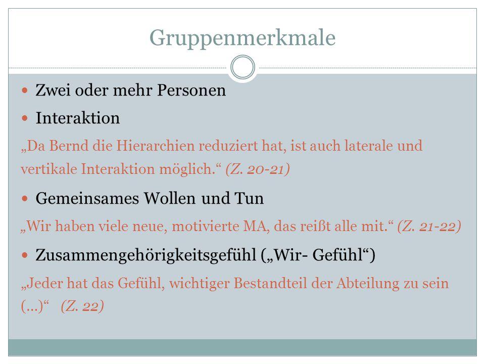 """Gruppenmerkmale Zwei oder mehr Personen Interaktion """"Da Bernd die Hierarchien reduziert hat, ist auch laterale und vertikale Interaktion möglich."""" (Z."""