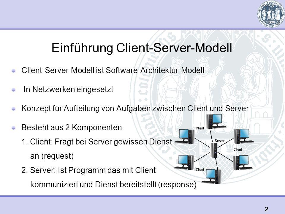 Einführung Client-Server-Modell Client-Server-Modell ist Software-Architektur-Modell In Netzwerken eingesetzt Konzept für Aufteilung von Aufgaben zwischen Client und Server Besteht aus 2 Komponenten 1.