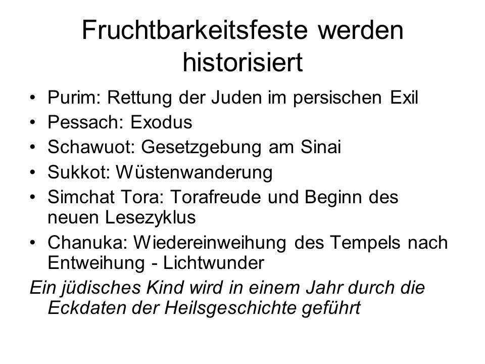 Fruchtbarkeitsfeste werden historisiert Purim: Rettung der Juden im persischen Exil Pessach: Exodus Schawuot: Gesetzgebung am Sinai Sukkot: Wüstenwand