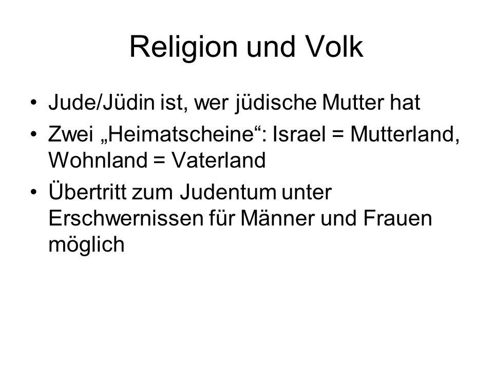 """Religion und Volk Jude/Jüdin ist, wer jüdische Mutter hat Zwei """"Heimatscheine"""": Israel = Mutterland, Wohnland = Vaterland Übertritt zum Judentum unter"""
