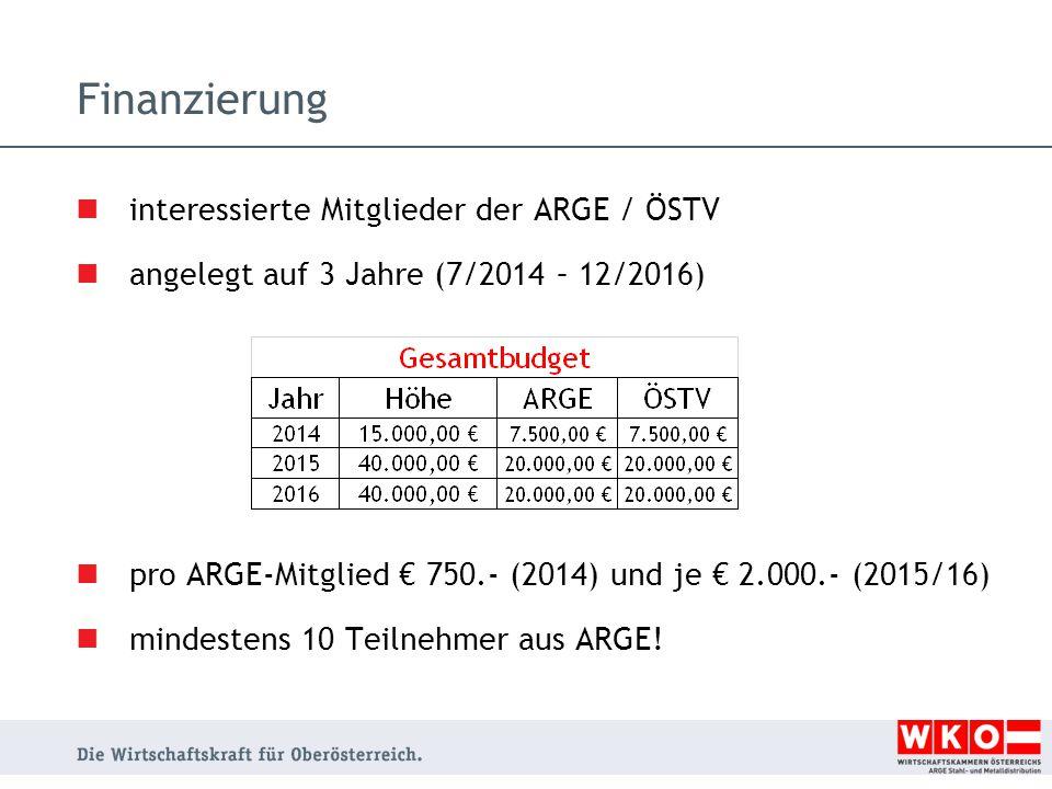 Finanzierung interessierte Mitglieder der ARGE / ÖSTV angelegt auf 3 Jahre (7/2014 – 12/2016) pro ARGE-Mitglied € 750.- (2014) und je € 2.000.- (2015/16) mindestens 10 Teilnehmer aus ARGE!