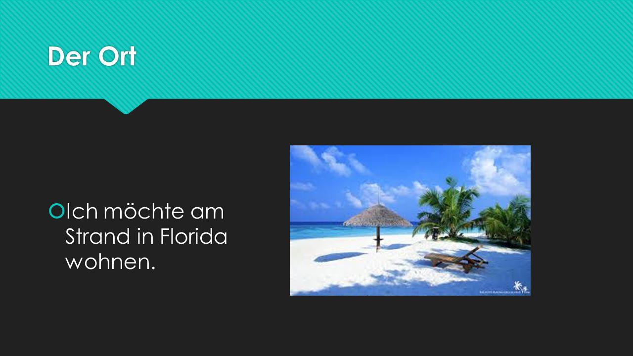Der Ort  Ich möchte am Strand in Florida wohnen.